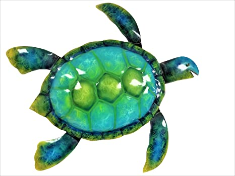 """Hand-Painted Contemporary Home Decoration in Coastal Style Large 19/"""" x 19/"""" 3D Design Indoor or Outdoor Seaside and Tropical Beach Art Turtle Metal Wall D/écor or Table Decoration"""