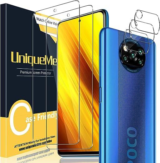 UniqueMe [2 Pack] Protector de Pantalla para Xiaomi Poco X3 NFC + [3 Pack] Protector de Lente de cámara, Vidrio Templado [9H Dureza] HD Film Cristal Templado