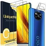 UniqueMe [2 Pack] Protector de Pantalla para Xiaomi Poco X3 NFC + [3 Pack] Protector de Lente de cámara, Vidrio Templado…