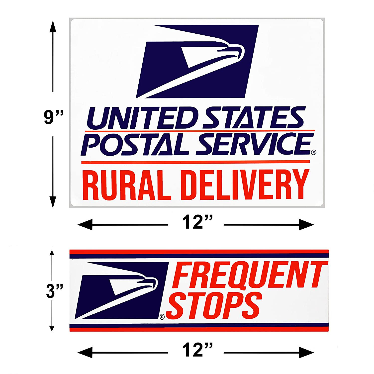 """Rural Delivery Magnetic Sign for U.S 3/"""" x 12/"""" included Safety Supply Mart Mail 9/"""" x 12/"""" with Frequent Stops Magnet"""
