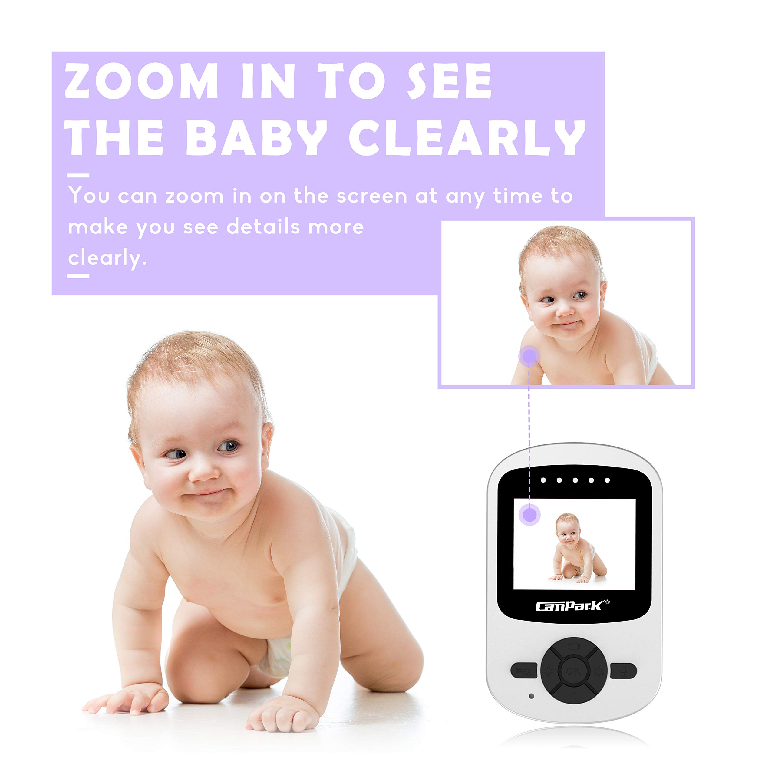 【2019 New Version】Campark Video Baby Monitor with Camera Infant Digital Cam Optics with Infrared Night Vision 2.4'' LCD 2.4GHz Wireless Transmission Two Way Talk Temperature Sensor VOX 4 in 1 Connect by Campark (Image #4)