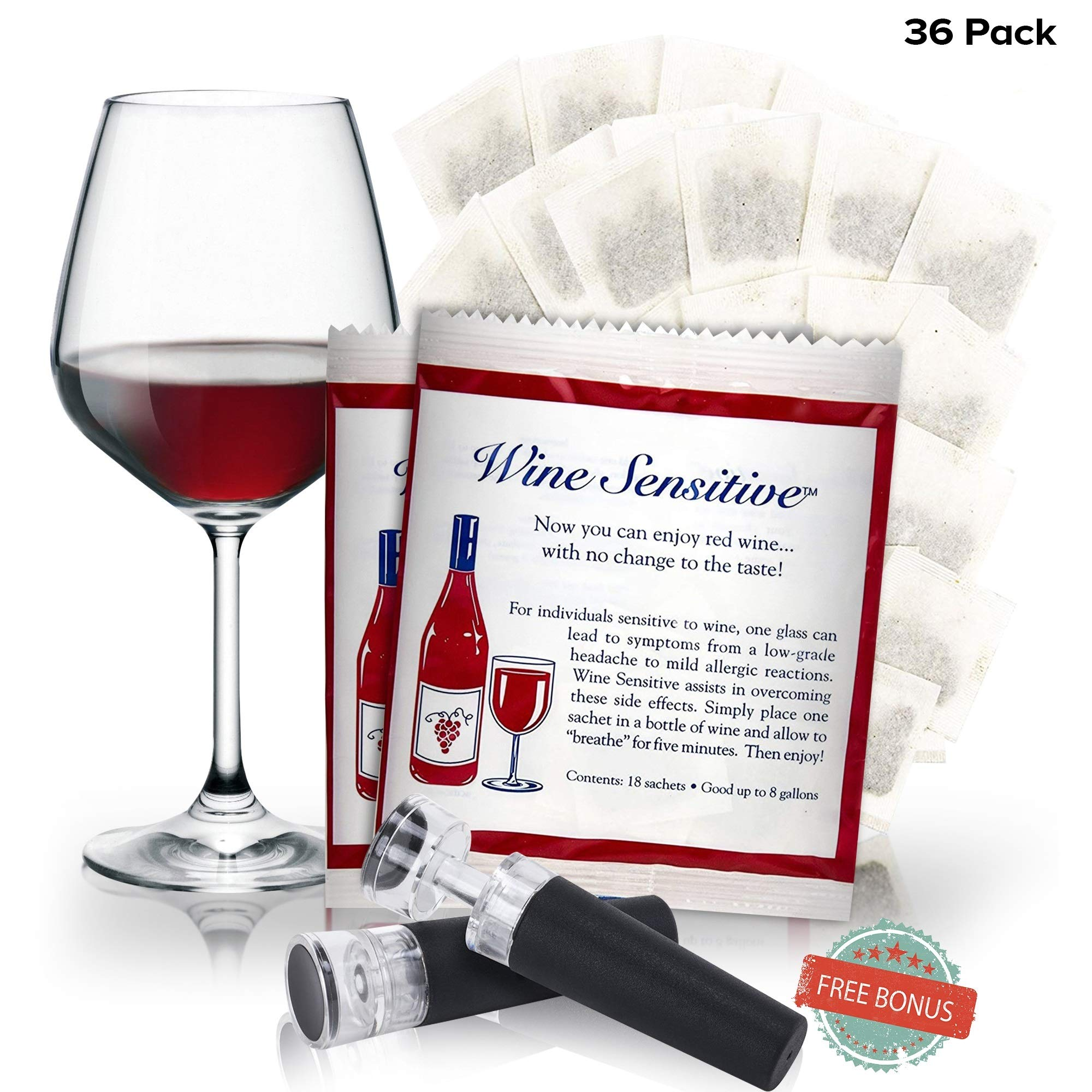 Bonus Pack Easy Organic Filter Sachet Wine Purifier And Sulfite Remover - Natural Ingredients Prevention Purifier Wine Filters Stops Red Wine Headaches by Wine Sensitive