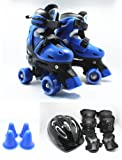 Xtreme Free Fun Roll Adjustable Roller Skates with Knee Elbow and Helmet