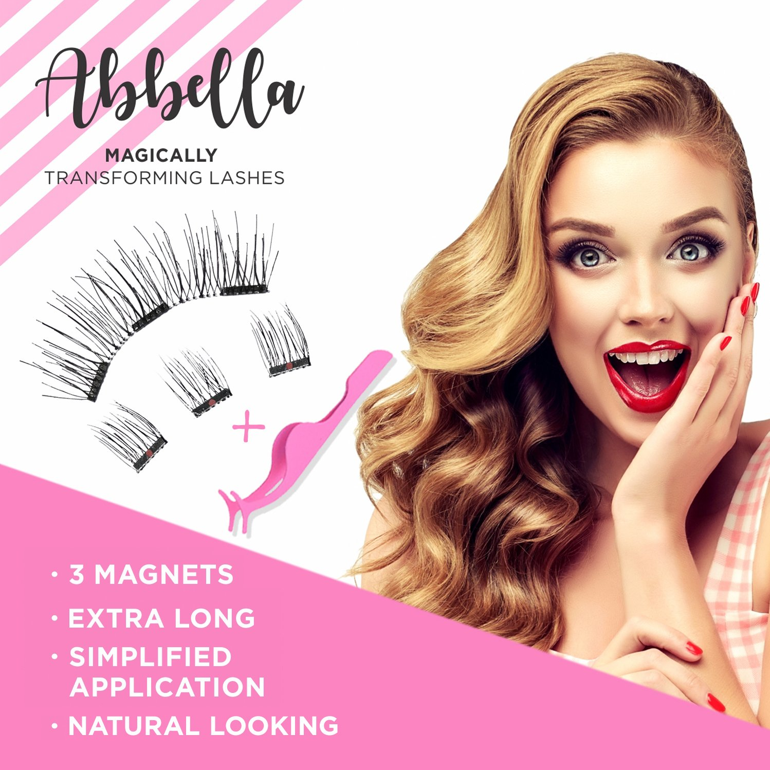 Magnetic Eyelashes [No Glue] Premium Quality False Eyelashes Set for Natural Look - Best Fake Lashes Extensions One Two Cosmetics 3D Reusable (8 PCS)