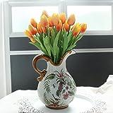 Fiori artificiali,Cozyswan 24 pcs PU Tulip Real Touch Latex Tulipano per la cerimonia nuziale per la decorazione domestica - Arancia