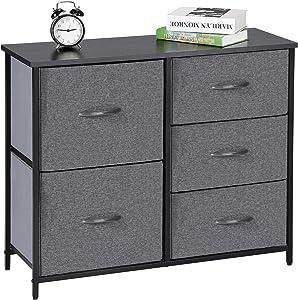 Kamiler 5-Drawers Dresser Organizer Cabinet Storage Chest for Bedroom, Hallway, Closet, Office,Steel Frame, Wood Top,Fabric Bins (Gray)