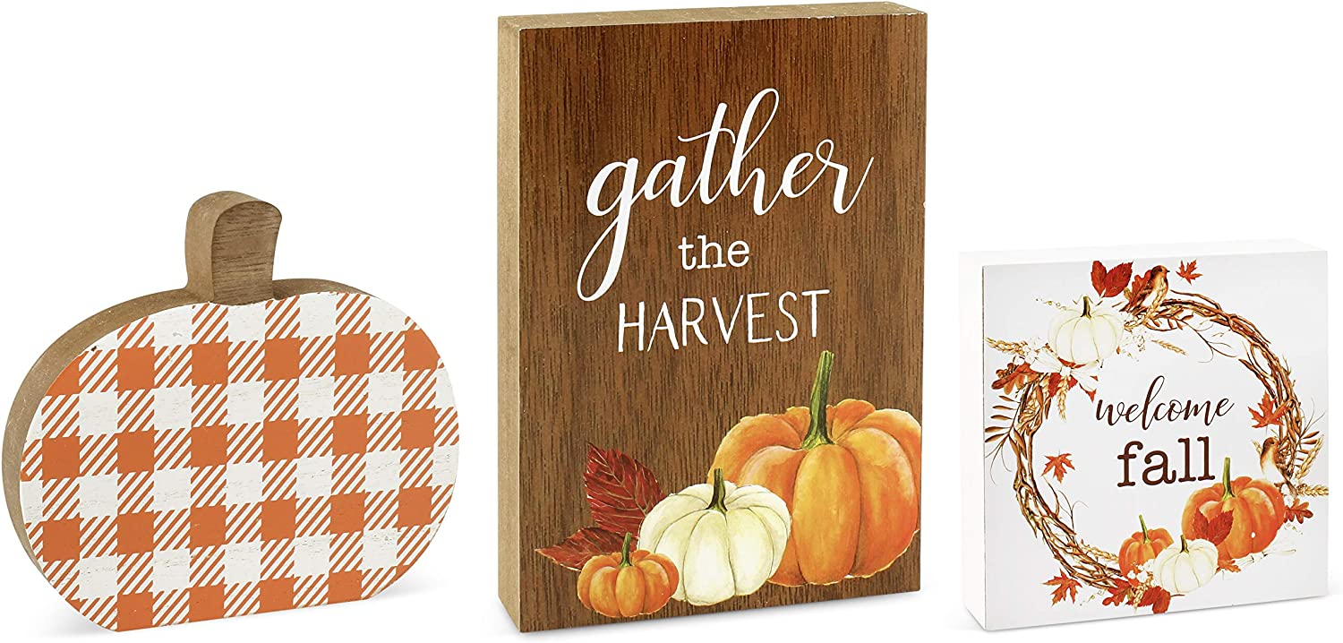 AuldHome Fall Wood Block Signs (Set of 3); Small Pumpkin and Harvest Shelf Signs/Wall Decor