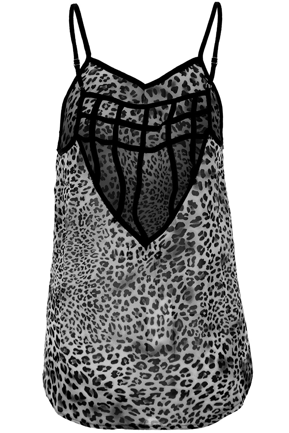 SAPPHIRE BOUTIQUE Womens Strappy Semi Sheer Cut Out Low Back Flare Baggy  Leopard Vest Top: Amazon.co.uk: Clothing