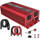 LVYUAN 1500W/3000W Power Inverter Dual AC Outlets and Dual USB Charging Ports DC 12V to 110V AC Car 12V Inverter…