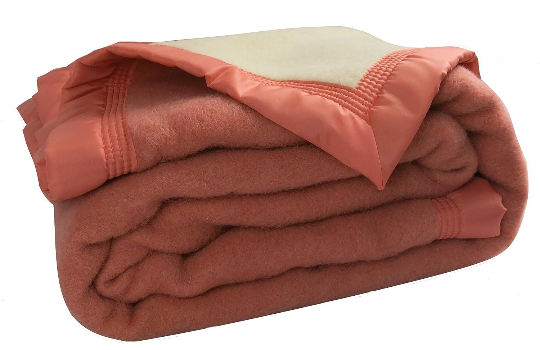 Ourson Decke Winter Premium – 100% Schurwolle – ouson, Peche L6 Ecru A1, 180 x 220