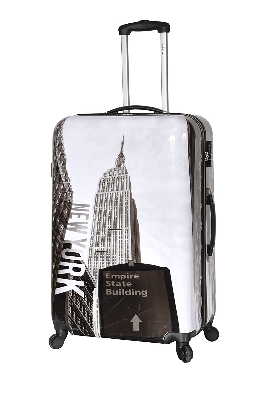 New-York Building - Valise Trolley Rigide 4 Roues 77 cm - Noir et Blanc - 15555NB-71 - ABS/PC