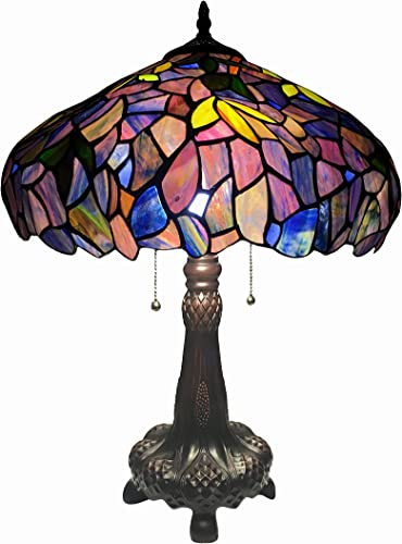 Chloe Lighting CH16828P-TL2 Tiffany-Style Wisteria 2-Light Table Lamp with Shade, 24 x 16 x 16 , Bronze