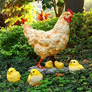 LIUXIN Home Decoration Crafts Outdoor Statue Outdoor Garden Figurine Decor Hens and Chicks Garden Statue Housewarming Gifts Garden Decorations