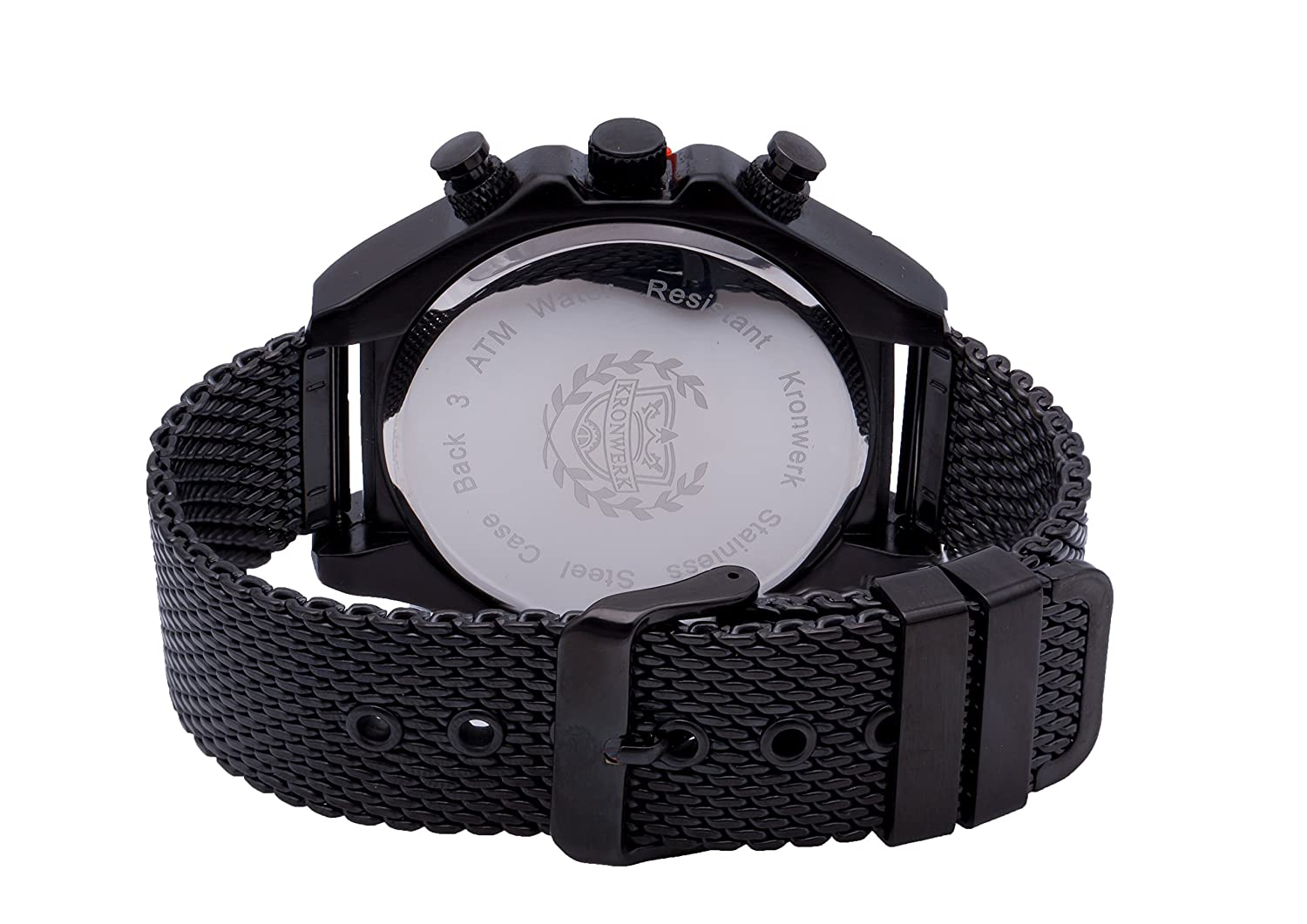 Amazon.com: ShoppeWatch Mens Watch Reloj Black Mesh Band Large Face Multifunction Day Date Sports Edition AQ202827G: Watches