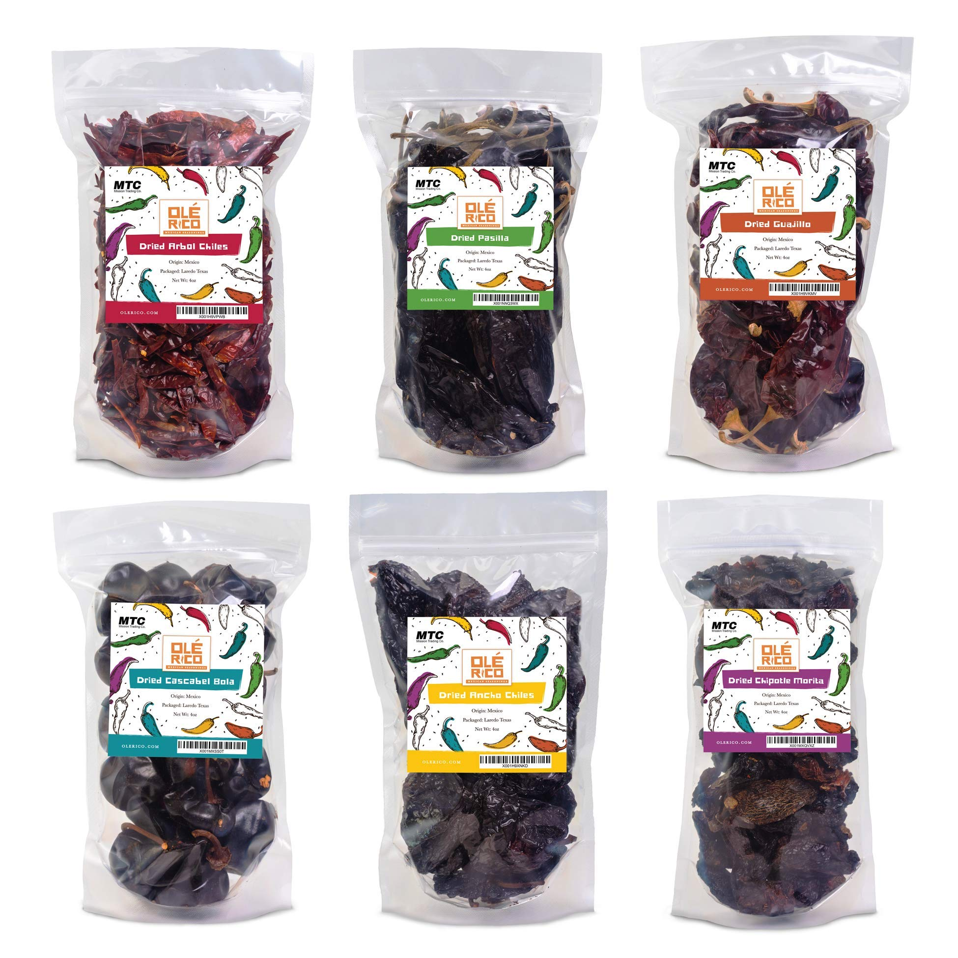 Dried Peppers 6 Pack Bundle - Ancho, Arbol, Guajillo, Pasilla, Chipotle, Cascabel Super Pack of Chiles by Ole Rico