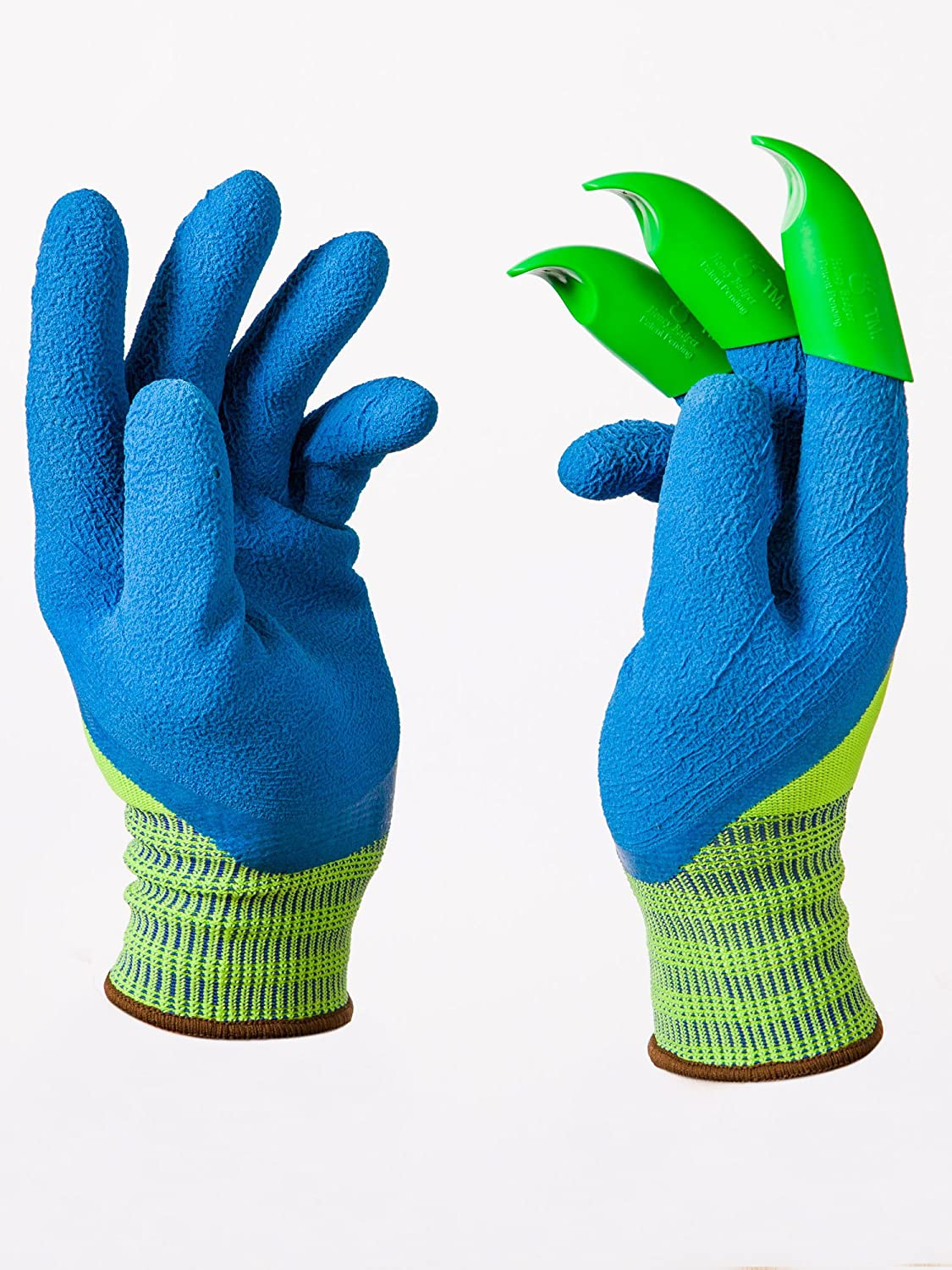 Honey Badger - Garden Gloves – Upgraded Premium Womens Gloves - All in one Tool for Light Gardening tasks - Green Claws on Right Hand - The ORIGINAL Digging Glove(TM.)