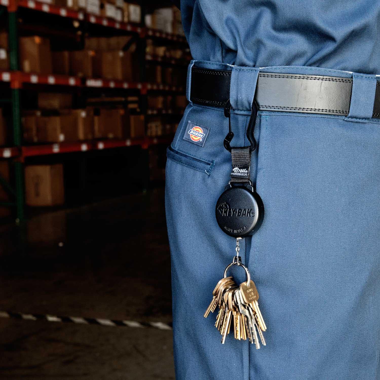 KEY-BAK SECURIT Heavy Duty Retractable Key Holder, 48 Kevlar Cord, 8 oz. Retraction Force, Durable Polycarbonate Case, Zinc Alloy Carabiner, Split Ring, Black 48 Kevlar Cord KeyBak 0488-8034
