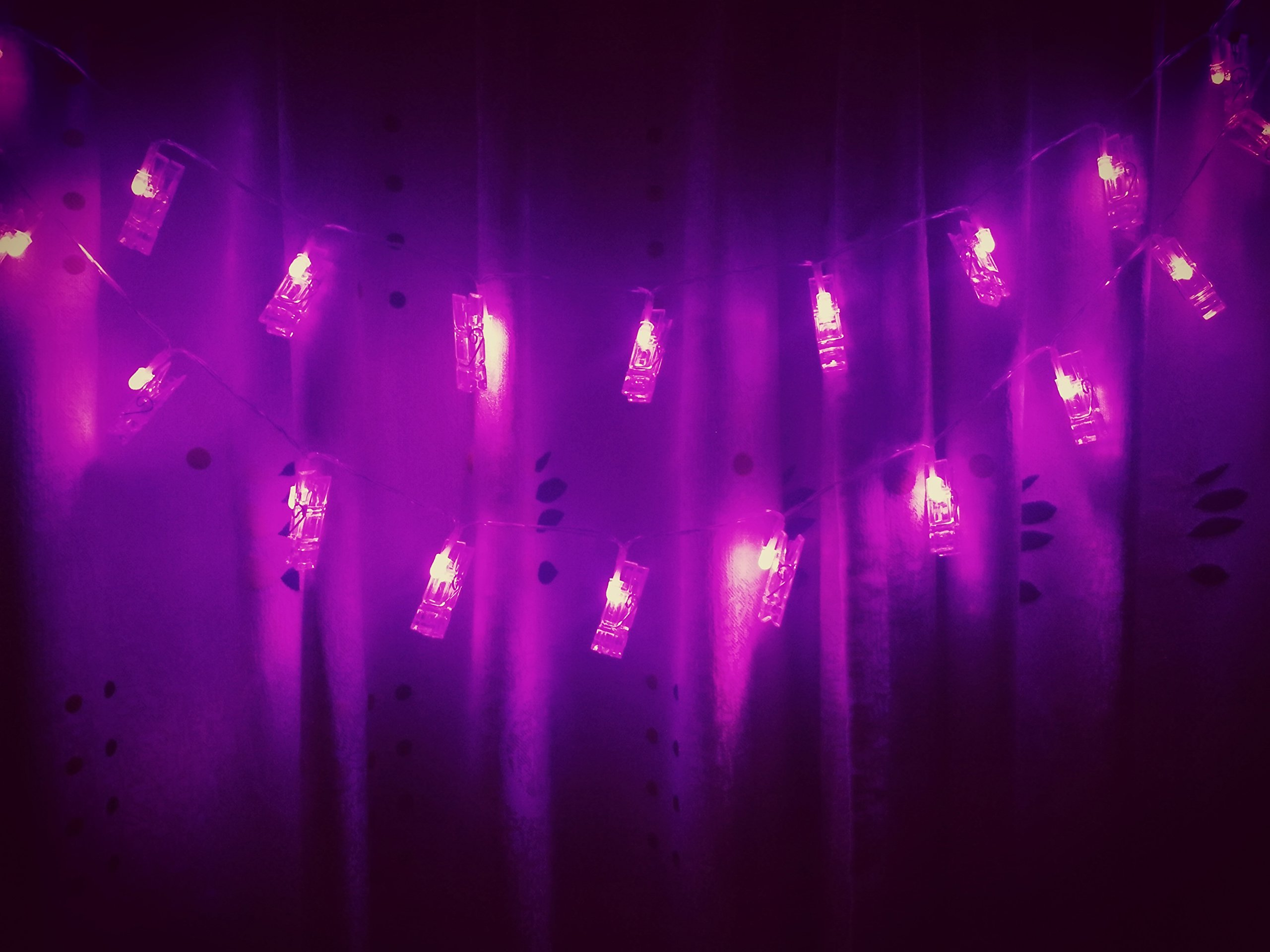 X-GIFT Photo Clips String Lights for Girls Living Room, Gift for College Dorm Room Decor, Wall Accessories, Led Bedroom Lights, Romantic Purple Lights, USB Powered, 30 LEDs