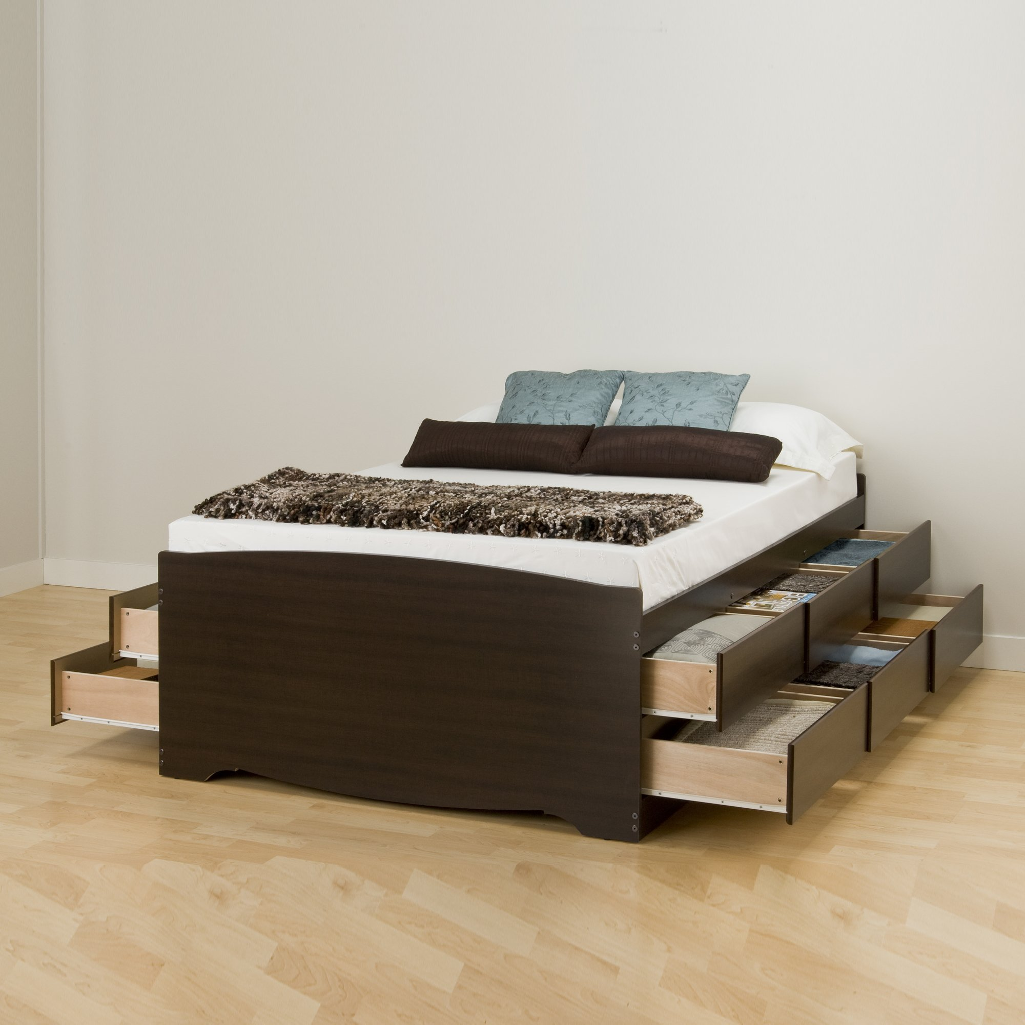 Prepac EBQ-6212-K Tall Queen Sonoma Platform Storage Bed with 12 Drawers, Espresso by Prepac