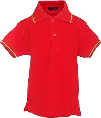 Pi2010 - Polo niño con Bandera de España en Cuello y Mangas, Rojo ...
