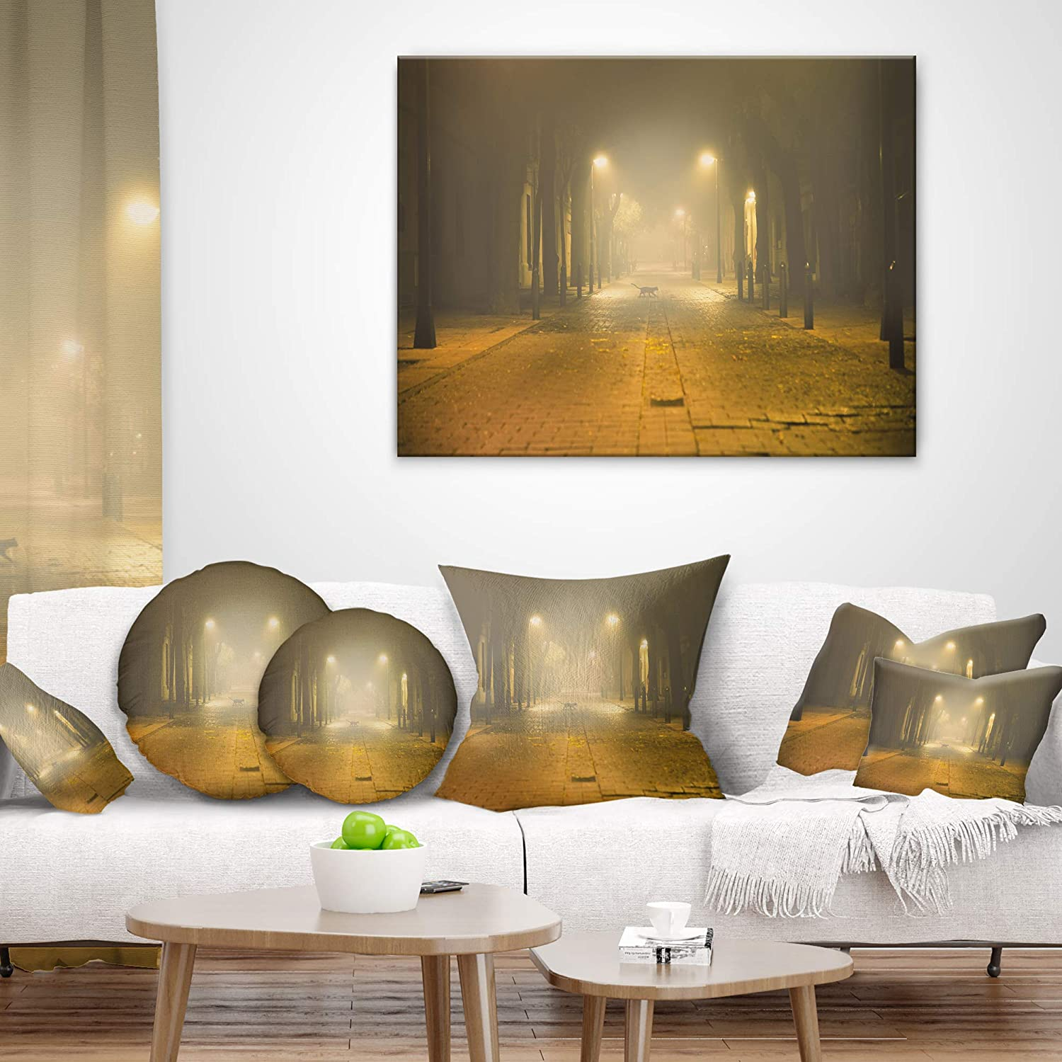Designart Cu9406 16 16 C Urban Street At Night Landscape Photo Round Cushion Cover For Living