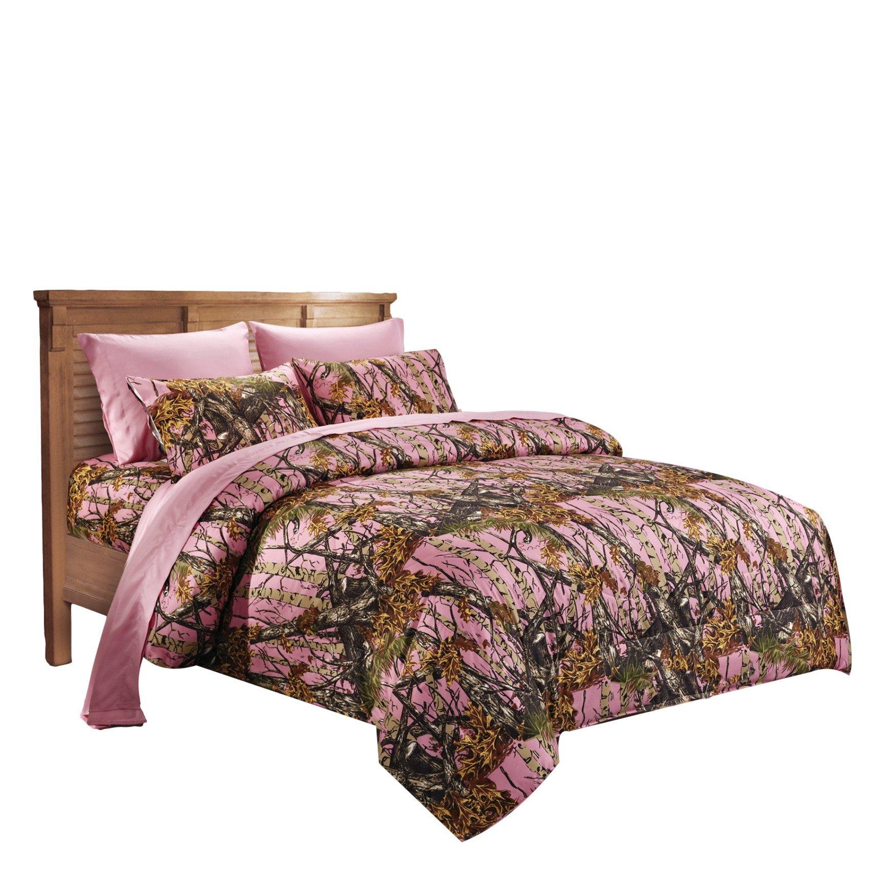 20 Lakes Pink Woodland Hunter Camo Microfiber Comforter Spread - Queen/Full Size