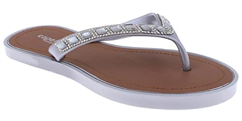 eac7d64ce3a Capelli New York Ladies Opaque Jelly Fashion Flip Flops with Gem Trim  Pewter Grey 6