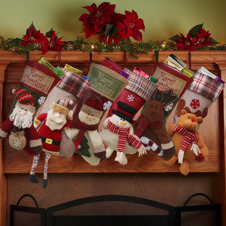 Set de calcetines personalizados Feliz Navidad, Decoración para la chimenea, tamaño grande (Papá Noel, muñeco de nieve y reno, 3 unidades, 45 cm), tela, ...