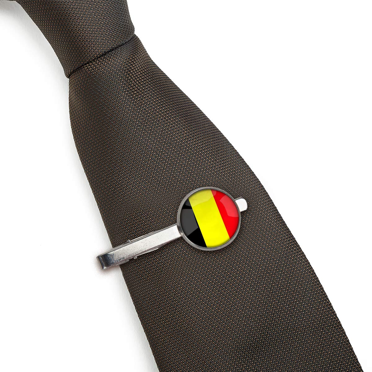 LooPoP Men Tie Clip The Kingdom of Belgium National Flag Stainless Tie Pins for Business Wedding Shirts Tie Clips Include Gift Box