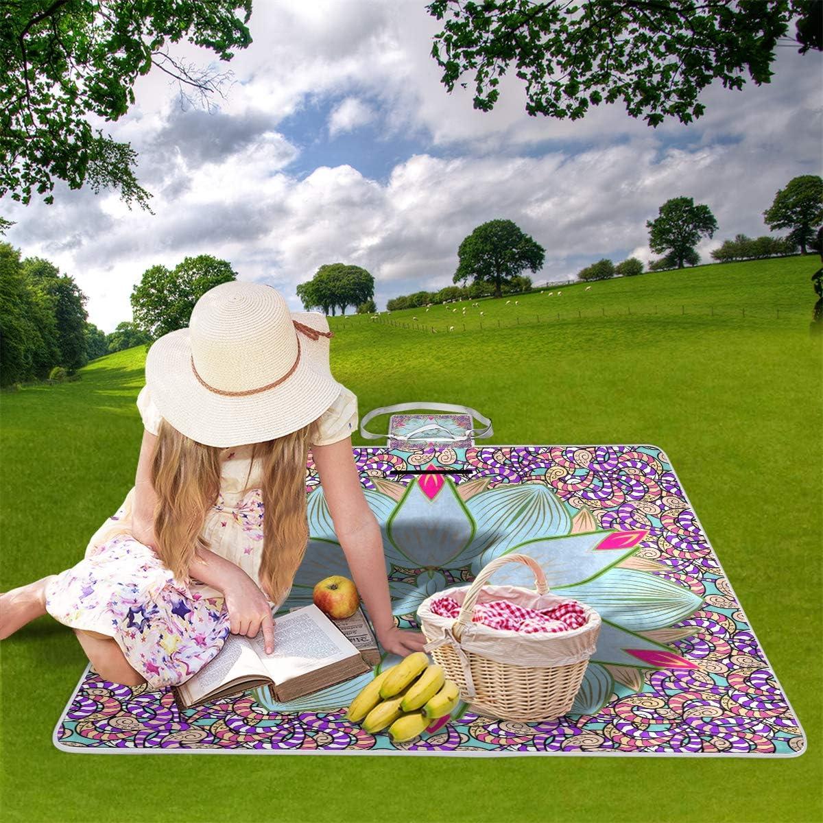 TIZORAX Mandala Picknickdecke Wasserdichte Outdoor Decke faltbar Picknick Handliche Matte Tragetasche f/ür Strand Camping Wandern