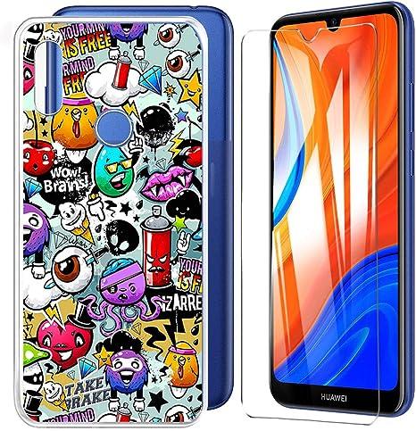 HYMY Cover per Huawei Y6S 2020 Luminous Custodia Vetro Temperato - Adorabile Morbida Silicone TPU Case Protettivo Copertura per Huawei Y6 2020 ...