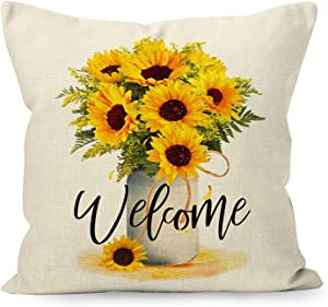 YUEMAYLY Farmhouse Rustic Summer Sunflower Welcome Linen Throw Pillow Cover, Housewarming Sunflower Lover Gifts for Home Porch Sofa Decorations Decor (18 x 18 Inch)