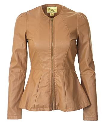 513d0a116d3 Image Unavailable. Image not available for. Color  Maralyn   Me Junior  Collarless Faux Leather Jacket-Small ...