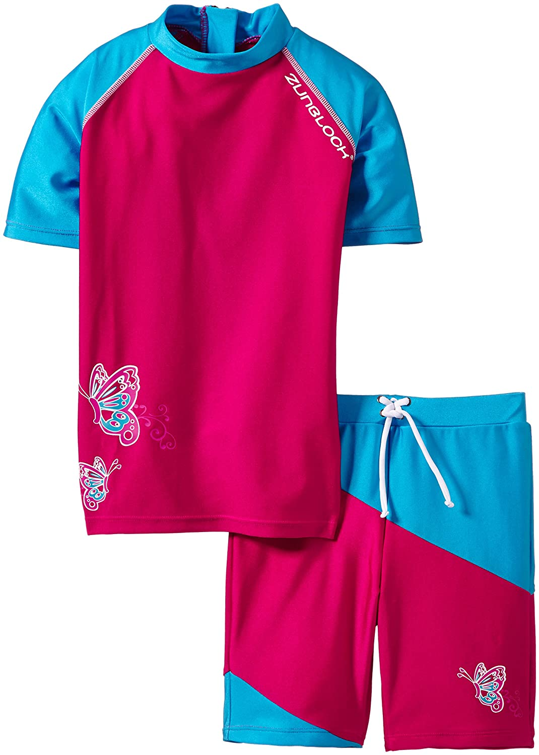 Zunblock UV-Set with Short Sleeves-Butterfly Pink/Turquoise, 98/104cm 2320064