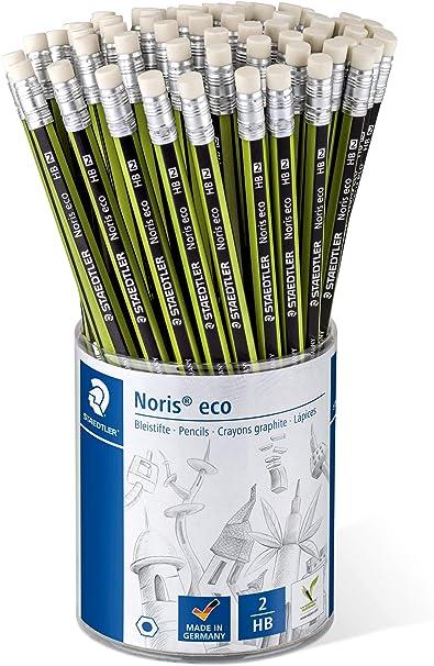 Staedtler Noris Eco - Lápiz con goma, bote portalápices, 72 unidades: Amazon.es: Oficina y papelería