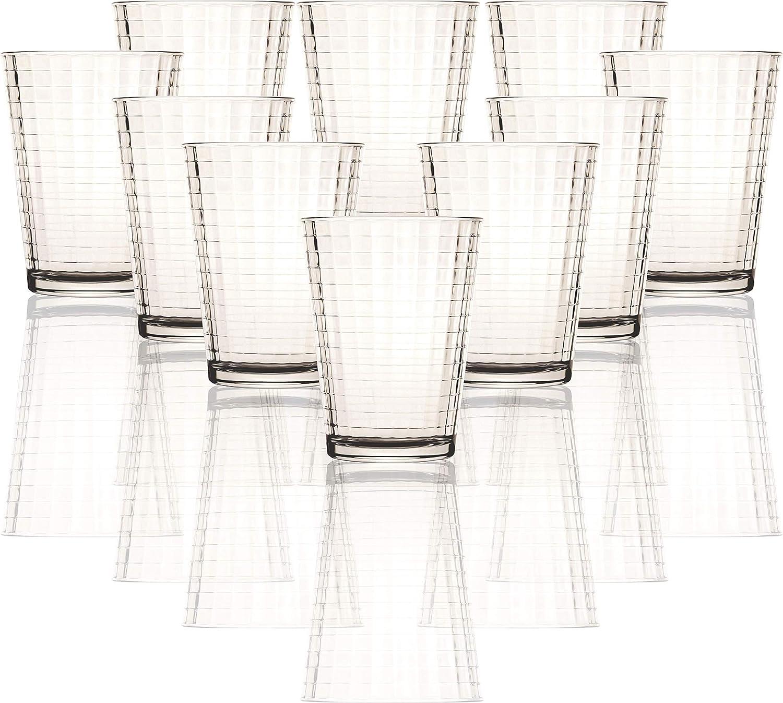 Circleware LQ Windowpane Set of 10 Juice Drinking Glasses, 7 ounce