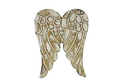Amazon.com: Distressed Angel Wings Wooden Carved Wall Decor Ornament ...