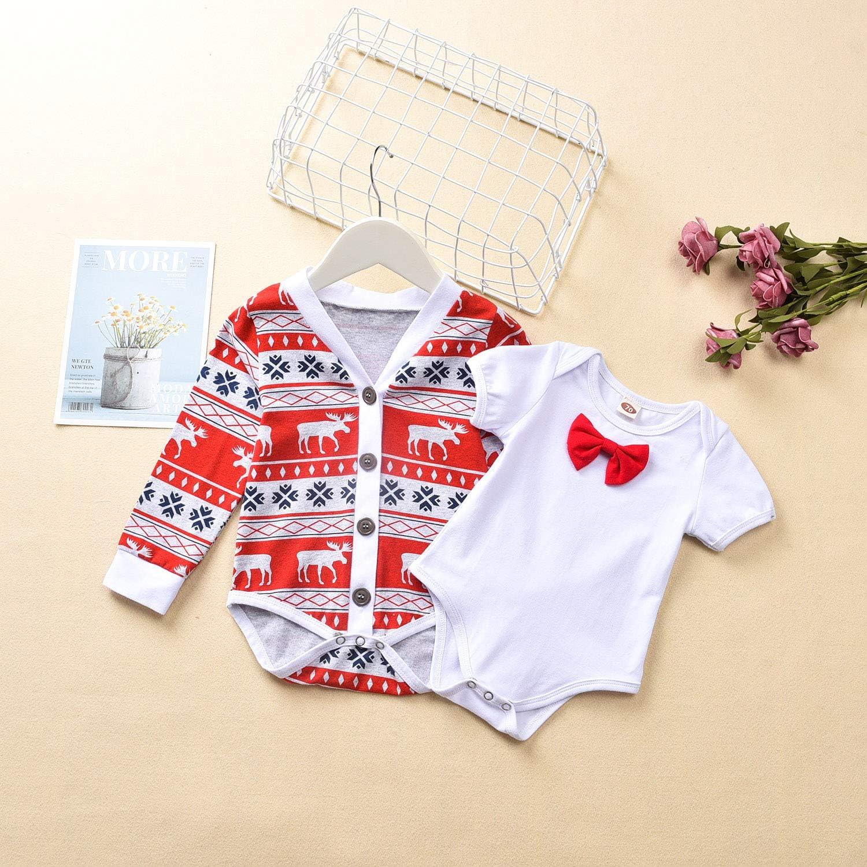 Fioukiay Preemie Newborn Baby Boys Christmas-Bodysuit-Romper-Clothes-Outfits-Set