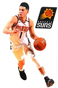 """Devin Booker Mini FATHEAD Graphic + Phoenix Suns Logo Official NBA Vinyl Wall Graphics - This Decal is 7"""" INCHES Tall"""
