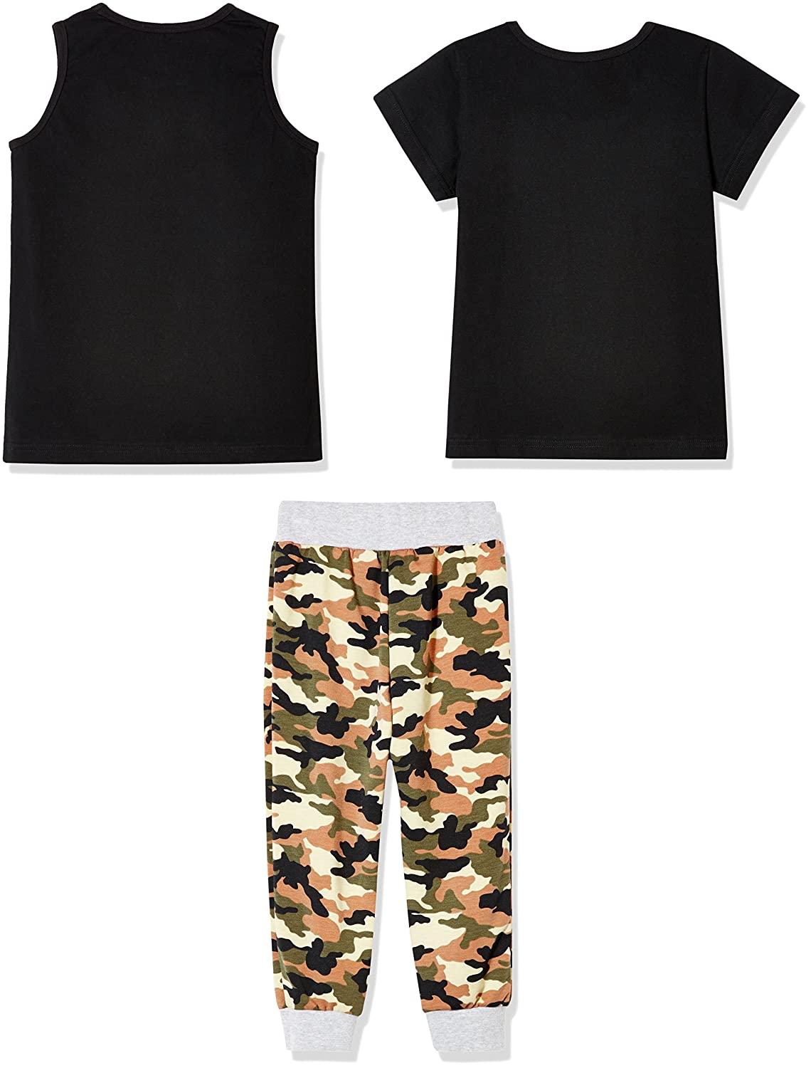 b50c02b1a585 Sprout Star Boy's Brooklyn and Stay Wild 100% Cotton Jersey T-Shirt, Tank  Top and Pants 3Pcs Set-Camouflage