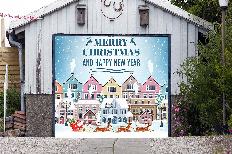 Christmas Сity Single Garage Door Covers Billboard Full Color 3D Effect Print Door Decor Decorations of House Garage Santa Holiday Mural Banner Garage Door Banner Size 83 x 96 inches DAV208