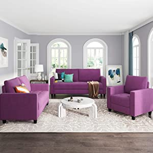 GAOPAN 3-Piece Sectional Set Velvet Fabric Couch for Living Room, 6 Seats Classical Back Cushions, Upholstered Sofas/Loveseat/Armchairs, Purple