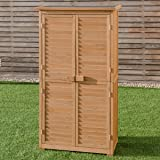 Goplus Garden Storage Shed Fir Wood Shutter Design Wooden Lockers for Outdoor