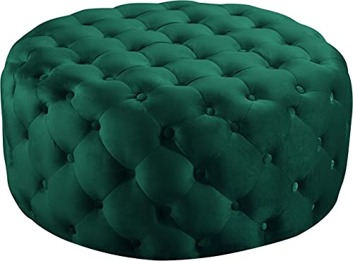 Meridian Furniture Addison Collection Modern Contemporary Velvet Upholstered Ottoman Bench with Deep Button Tufting, Solid Wood Frame, Green, 36 W x 36 D x 16.5 H