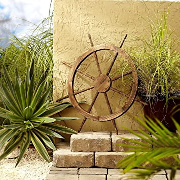 Amazon.com : Outdoor Décor 32-Inch Wooden Ship Wheel Nautical Marine ...
