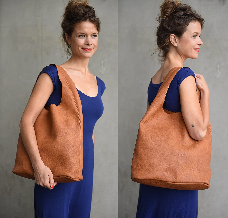 41aff9fc94e02 Hoggi Shopper Damen groß blau Marine Beuteltasche Handtasche Taschen Set  aus PU Kunstleder (37 x 40 x 15 cm)  Amazon.de  Koffer