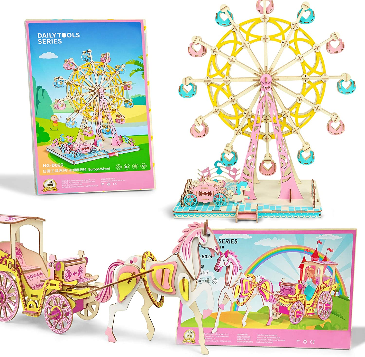 3D Wooden Puzzle DIY Ferris Wheel Puzzle 3D Jigsaw Model Gifts for Kids and Adults 295 PCS