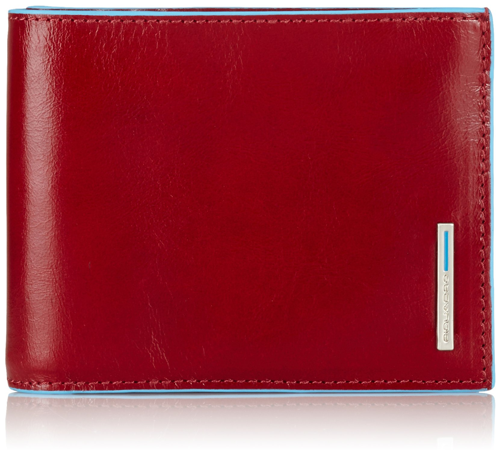 Piquadro Leather Man's Wallet with 12 Credit Card Slots, Red, One Size