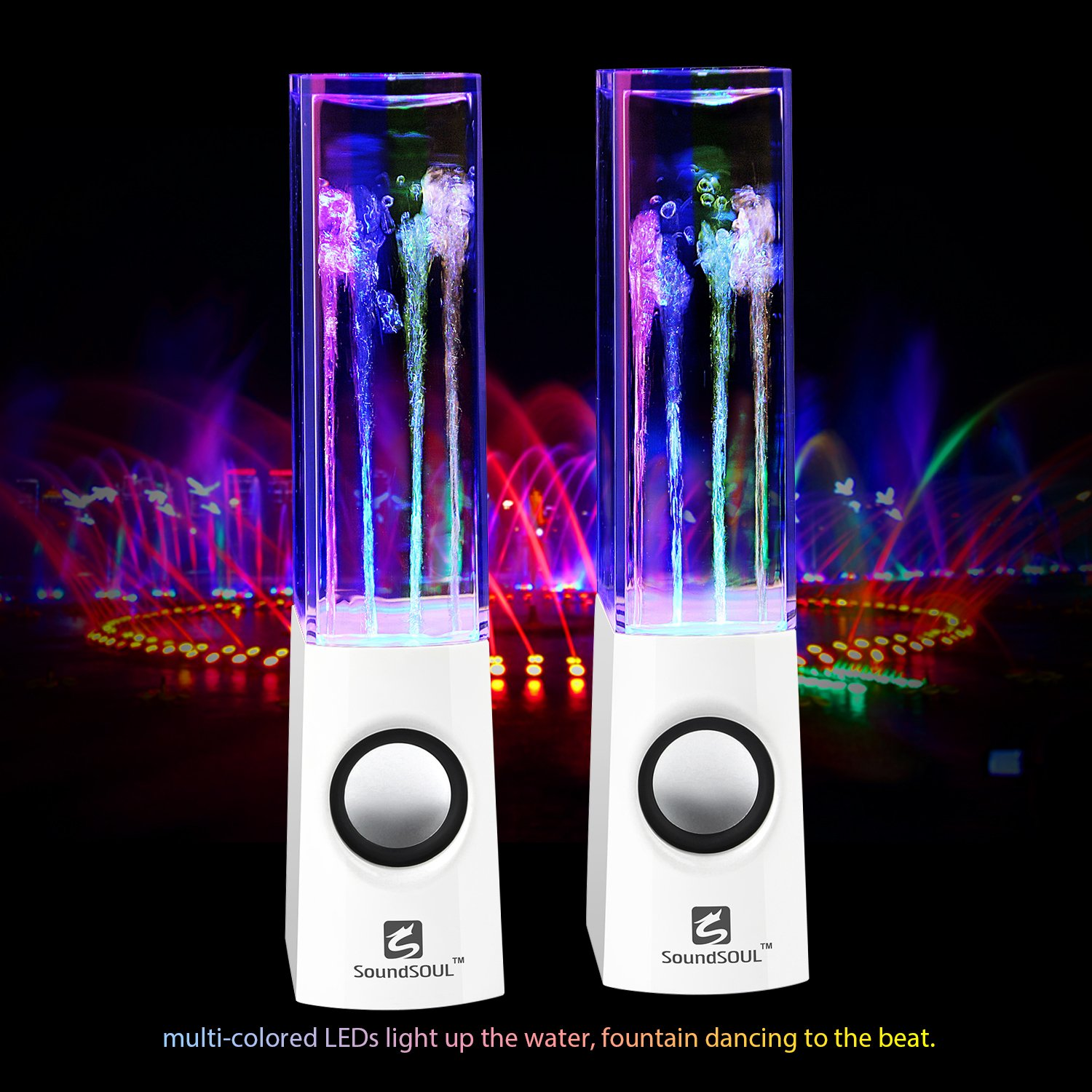 Soundsoul Water Dancing Speakers Light Show How To Build Leds Fountain Led 35mm Audio Plug 4 Colored Lights Portable