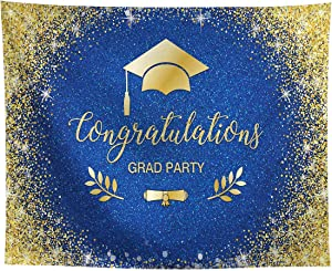Allenjoy Gold and Royal Blue Congrats Grad Backdrop Class of 2021 Academic Cap Diploma Congratulations Celebration Prom Party Decor Banner 10x8ft Glitter Photoshoot Picture Background Photo Booth Prop